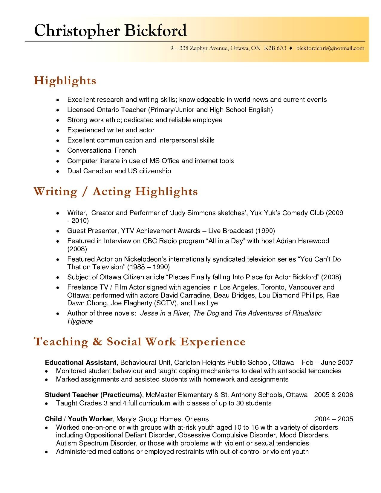 resume samples for faculty positions