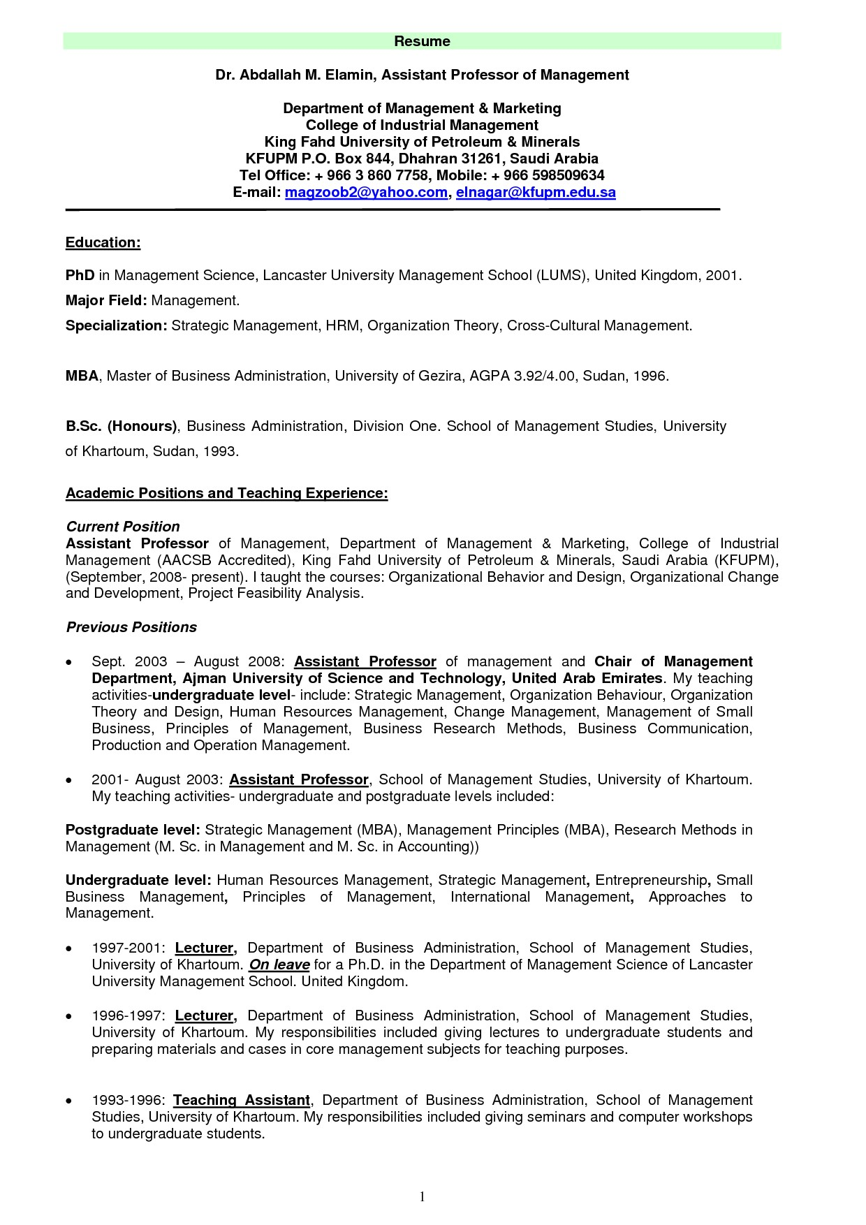 Resume Samples for Faculty Positions Resume Examples for College Teachers Music Teacher Piano