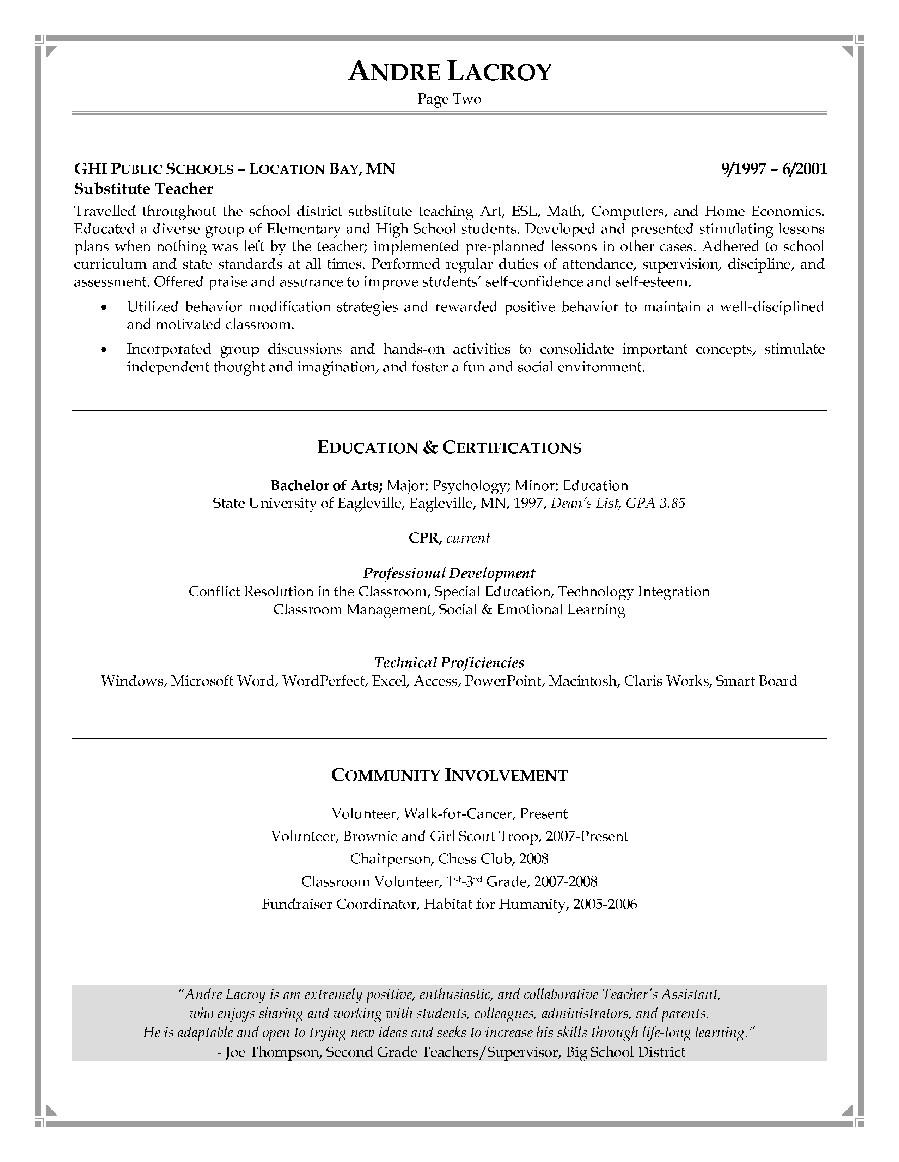 resume for teacher assistant position