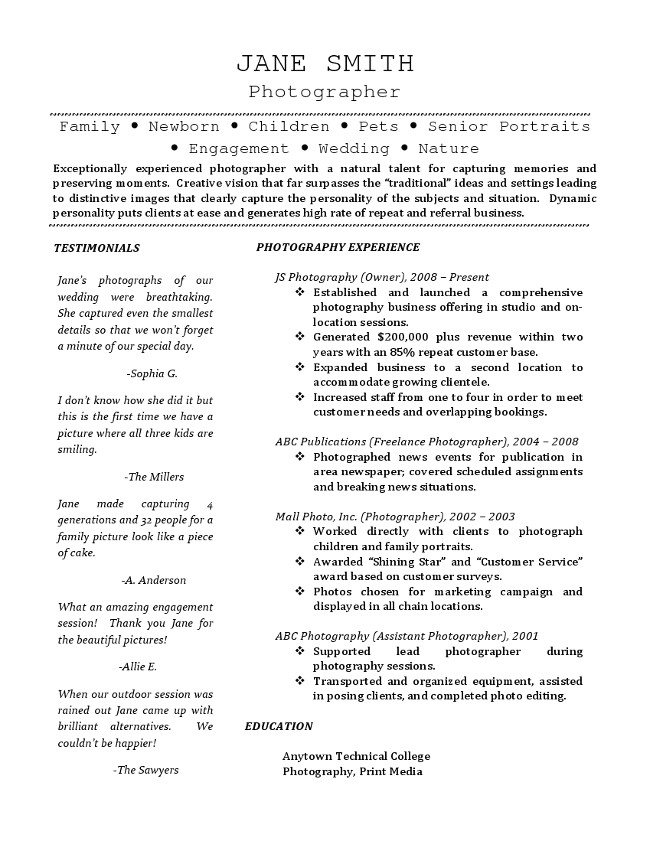 freelance photographer resume
