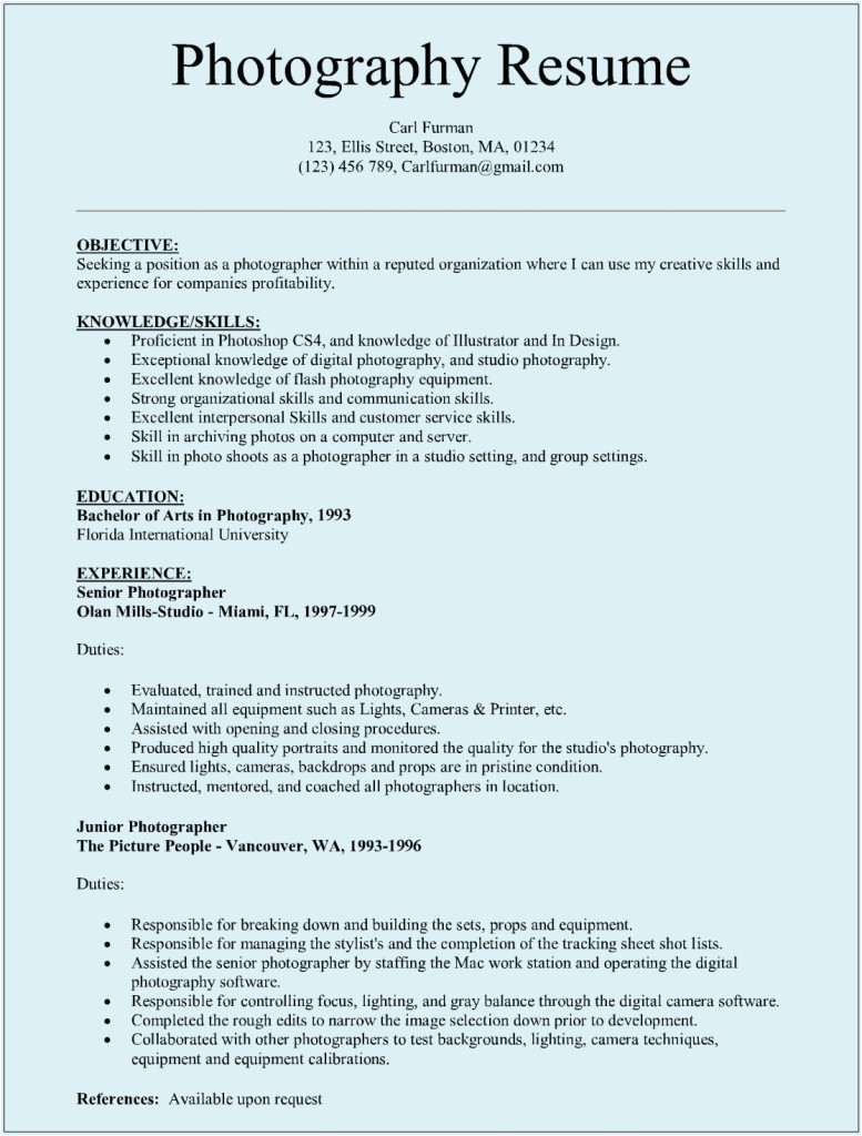 Resume Samples for Photographers Photographer Resume Sample Sample Resumes