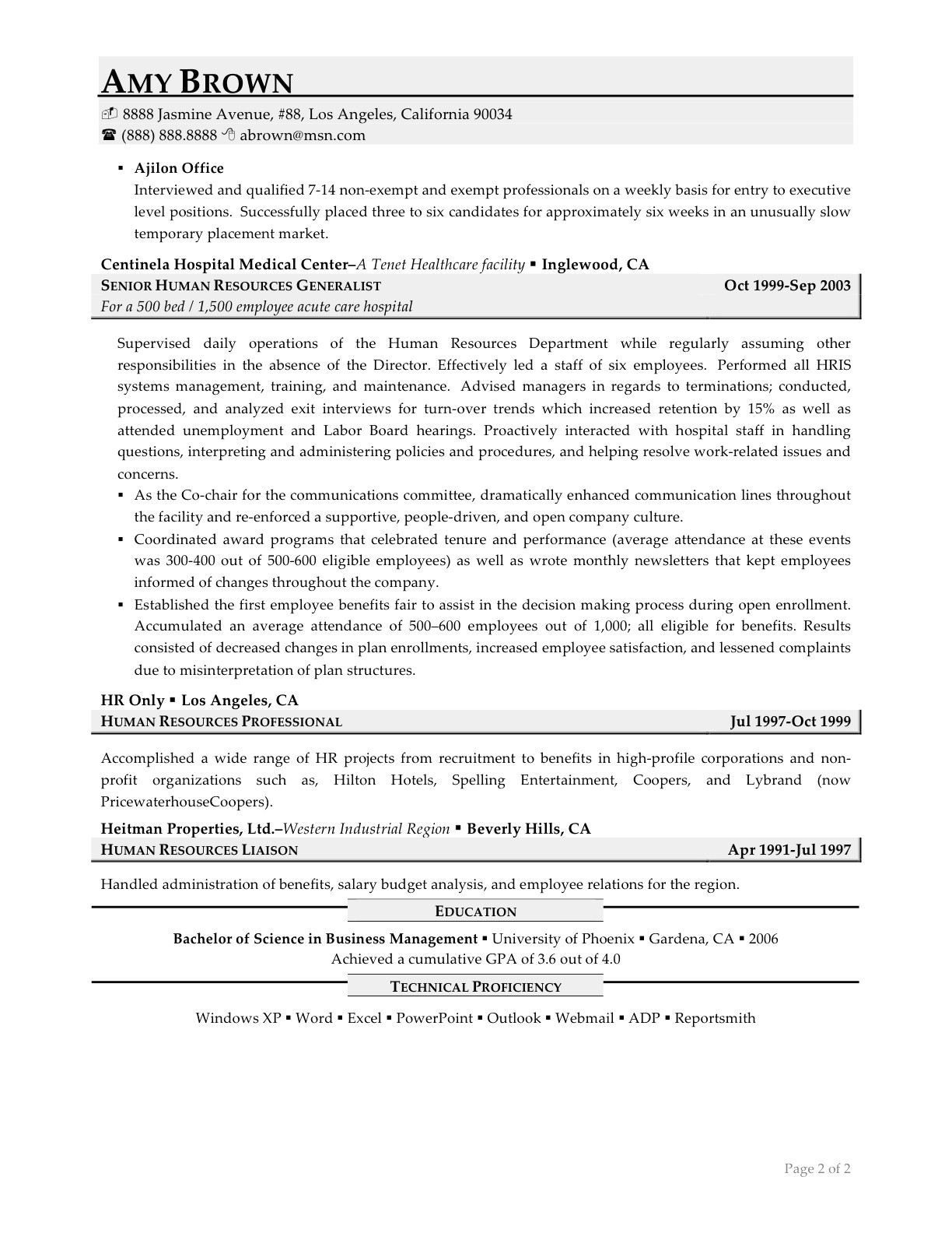 sample resume summary statements