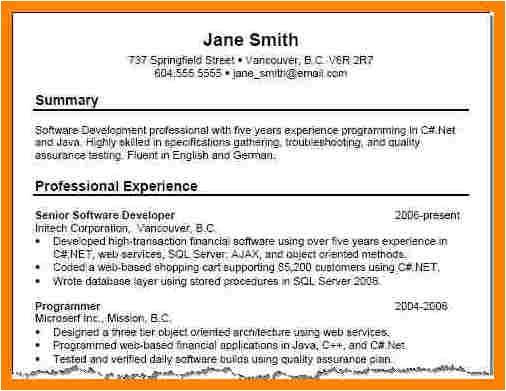 resume summary examples 2556