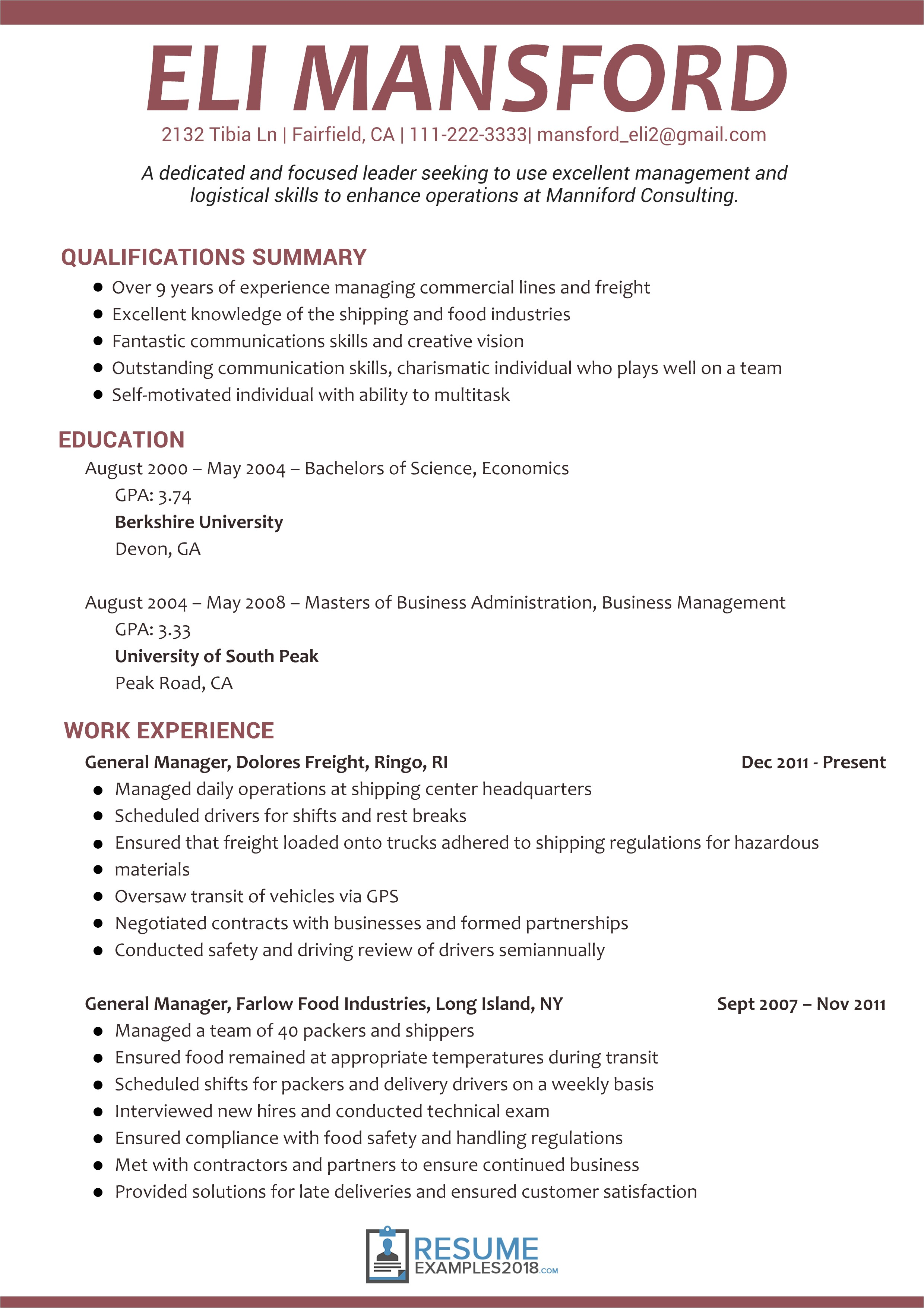 Resume Template Australia 2018 Get Better Results with Management Resume Examples 2018