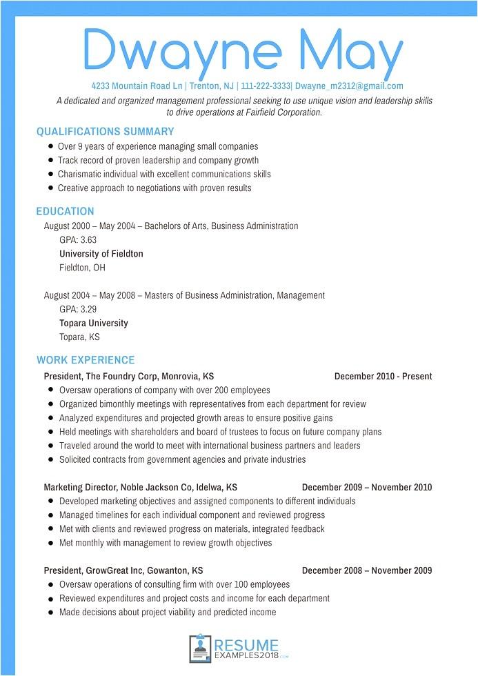 marketing resume examples 2018