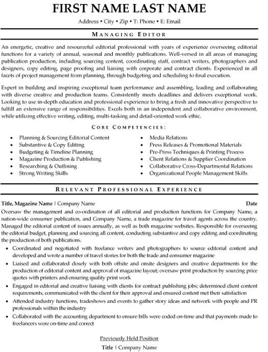 managing editor resume sample