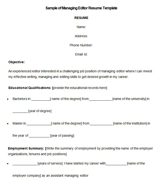 Resume Template Editor Media Resume Template 31 Free Samples Examples format