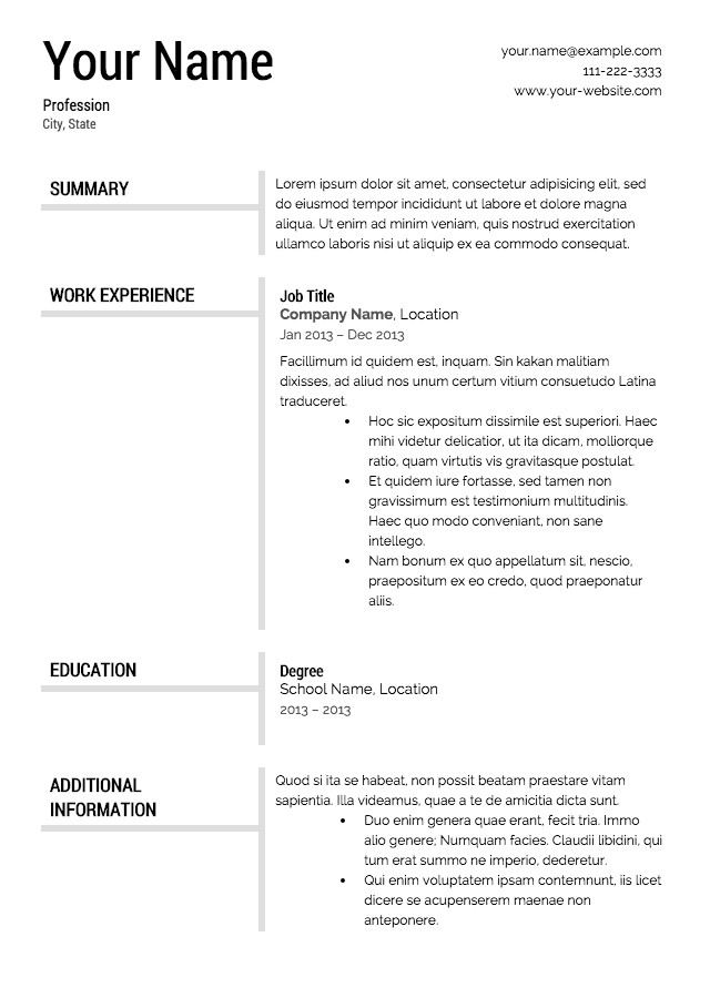 Resume Template Examples Free Free Resume Templates Resume Cv