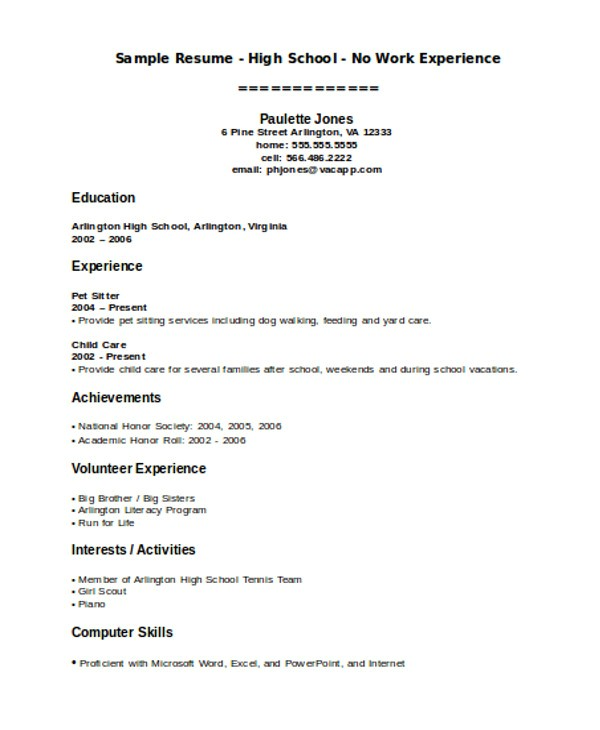 teenage resume template