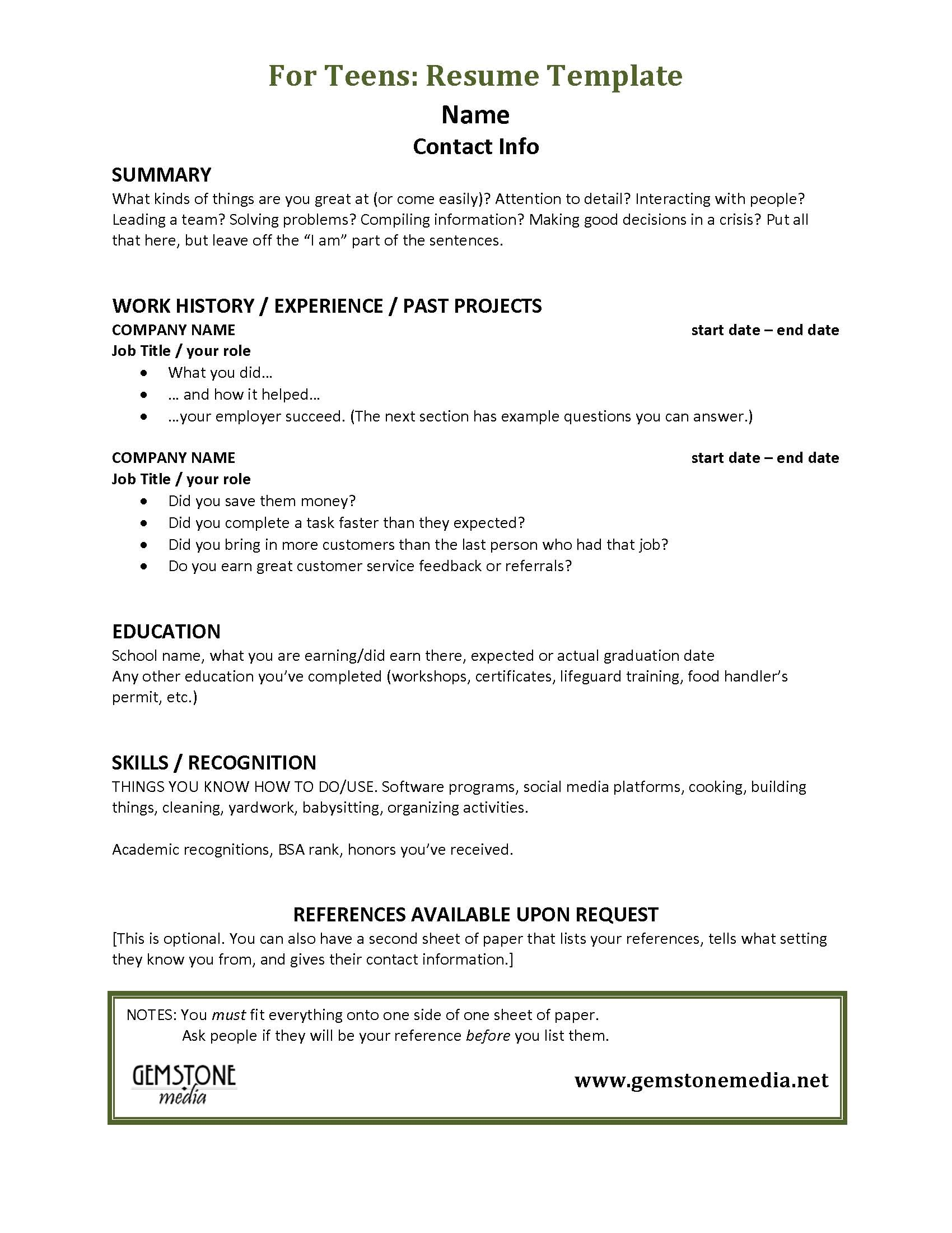 Resume Template for A Teenager Teen Job Hunting Helps Gemstone Media