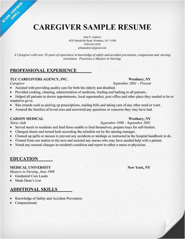resume samples caregiver
