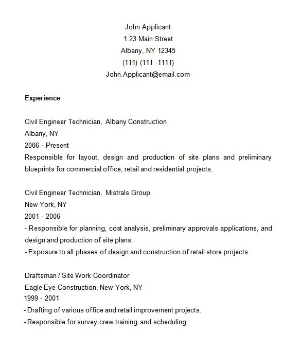 construction resume template