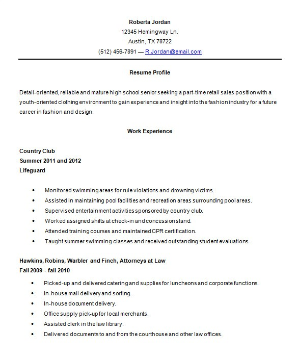 Resume Template for High School 9 Sample High School Resume Templates Pdf Doc Free