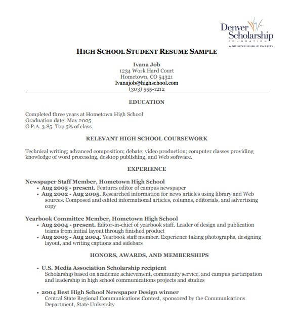 Resume Template for High School High School Resume Template 9 Free Word Excel Pdf