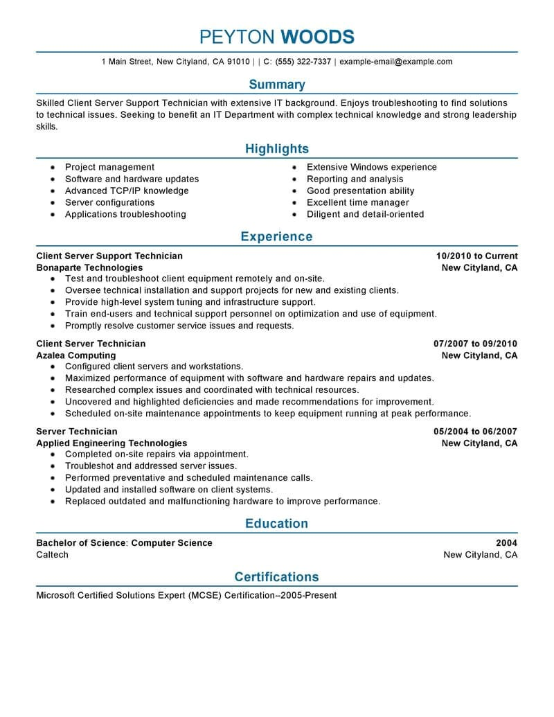 Resume Template for It Professional 11 Amazing It Resume Examples Livecareer