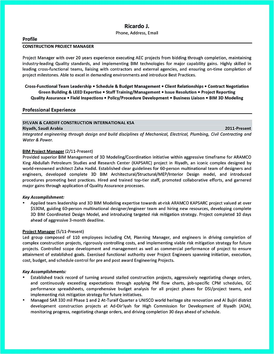 Resume Template for Project Manager Cool Construction Project Manager Resume to Get Applied