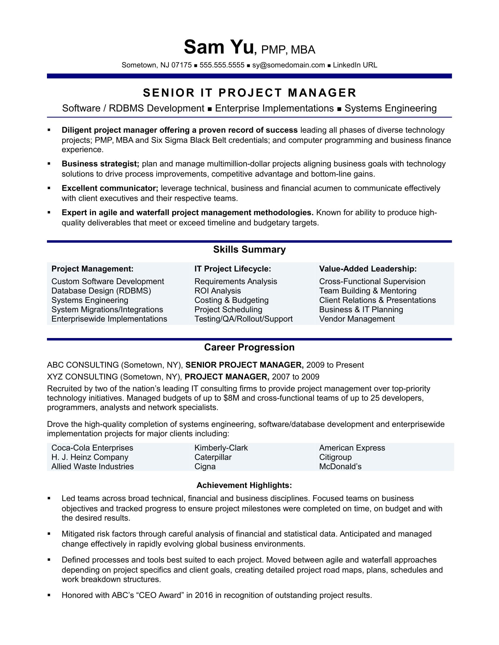 Resume Template for Project Manager Experienced It Project Manager Resume Sample Monster Com