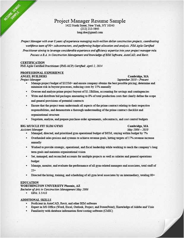 Resume Template for Project Manager Project Manager Resume Sample Writing Guide Rg
