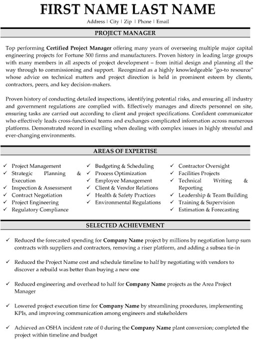project manager resume samples