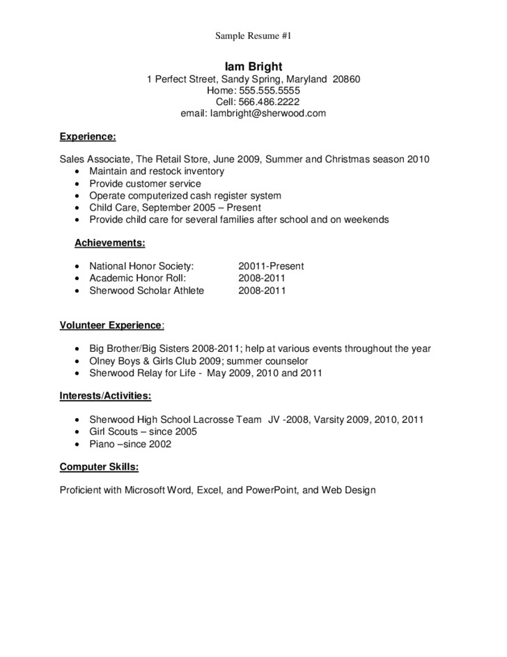 Resume Template for Recent High School Graduate Sample Resume for High School Graduate Free Download