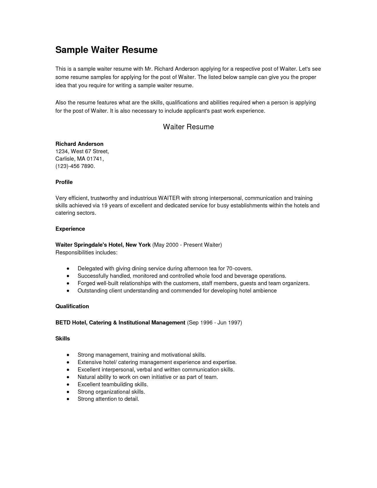 Resume Template for Server Position Sample Server Resume Free Resume Example and Writing