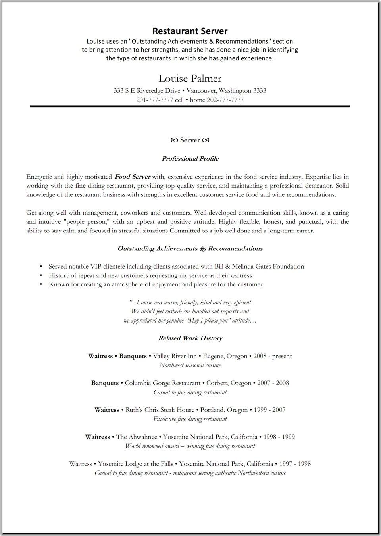 server position resume experience restaurant server