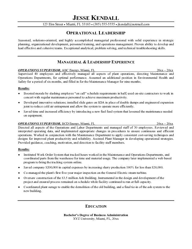 Resume Template for Supervisor Position Supervisor Resumes Free Excel Templates