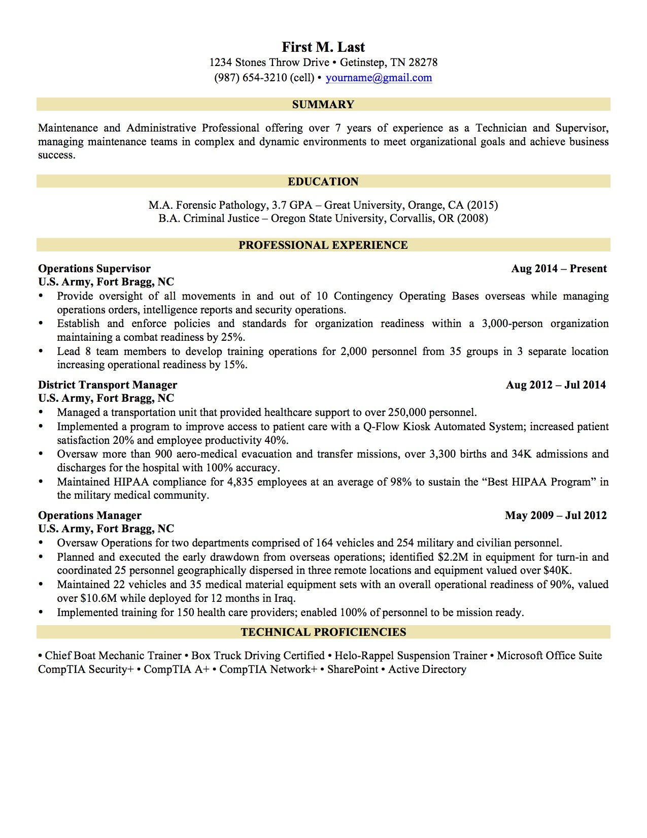 military resume examples 1376