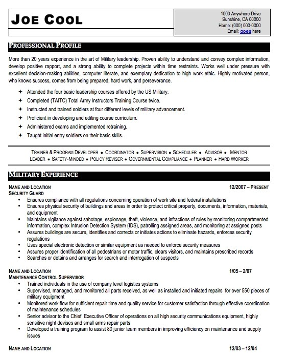 Resume Template Military Experience Military Resume Sample Free Resume Template Professional