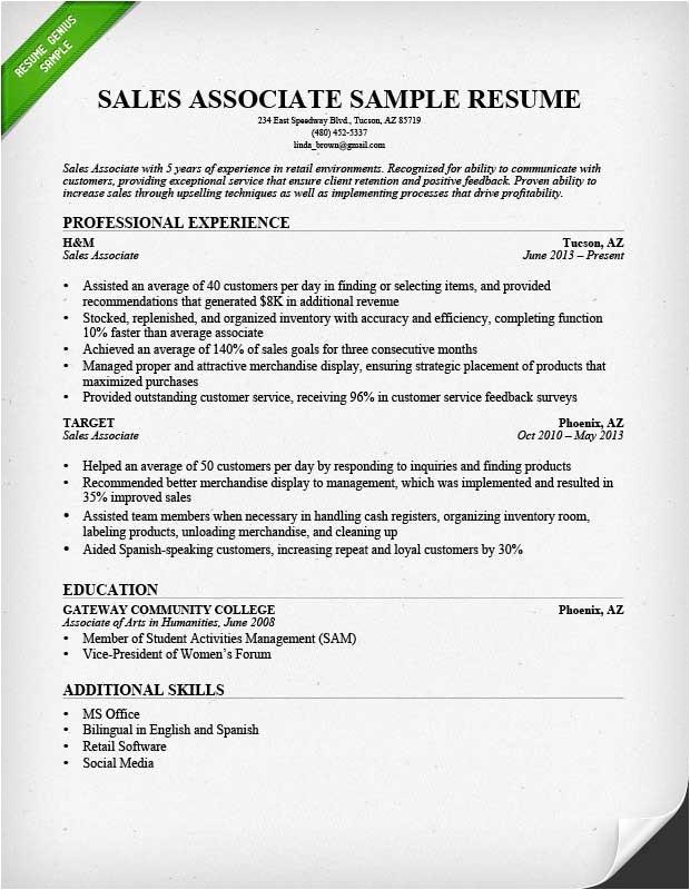 Resume Template Sales associate Retail Sales associate Resume Sample Writing Guide Rg