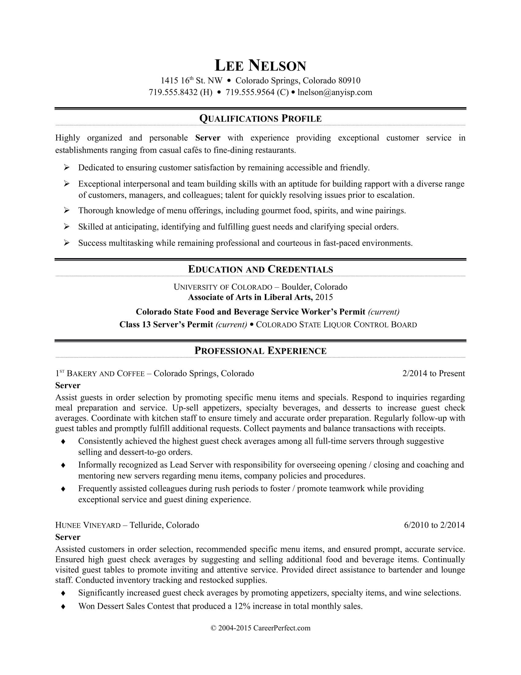 sample resume restaurant server