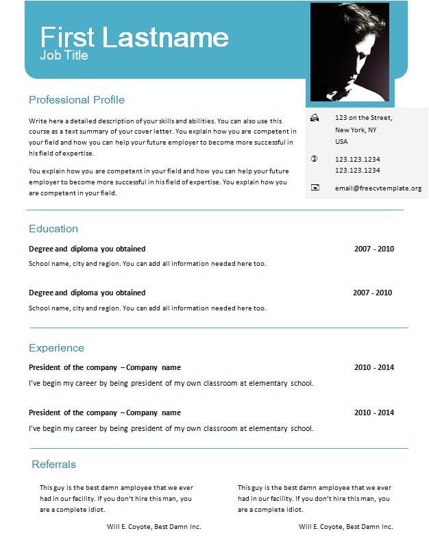 Resume Template Word Document Free Cv Templates for Word 625 631 Free Cv Template