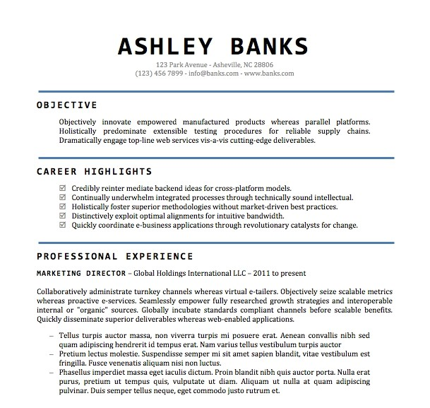 resume templates word doc