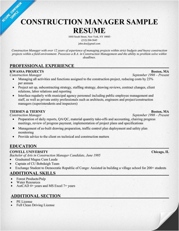 Resume Templates Construction Resume format Resume Examples Construction
