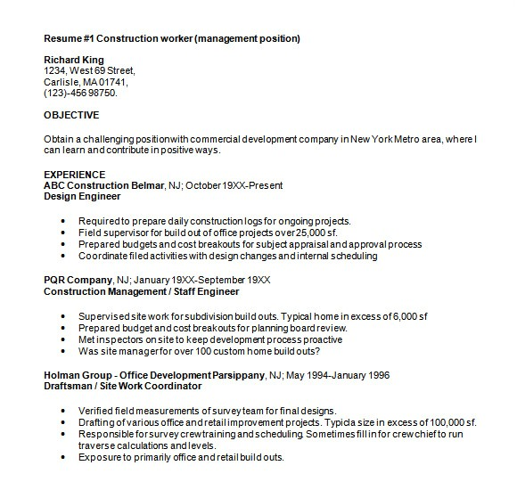 Resume Templates Construction Sample Construction Resume 5 Documents In Pdf Word