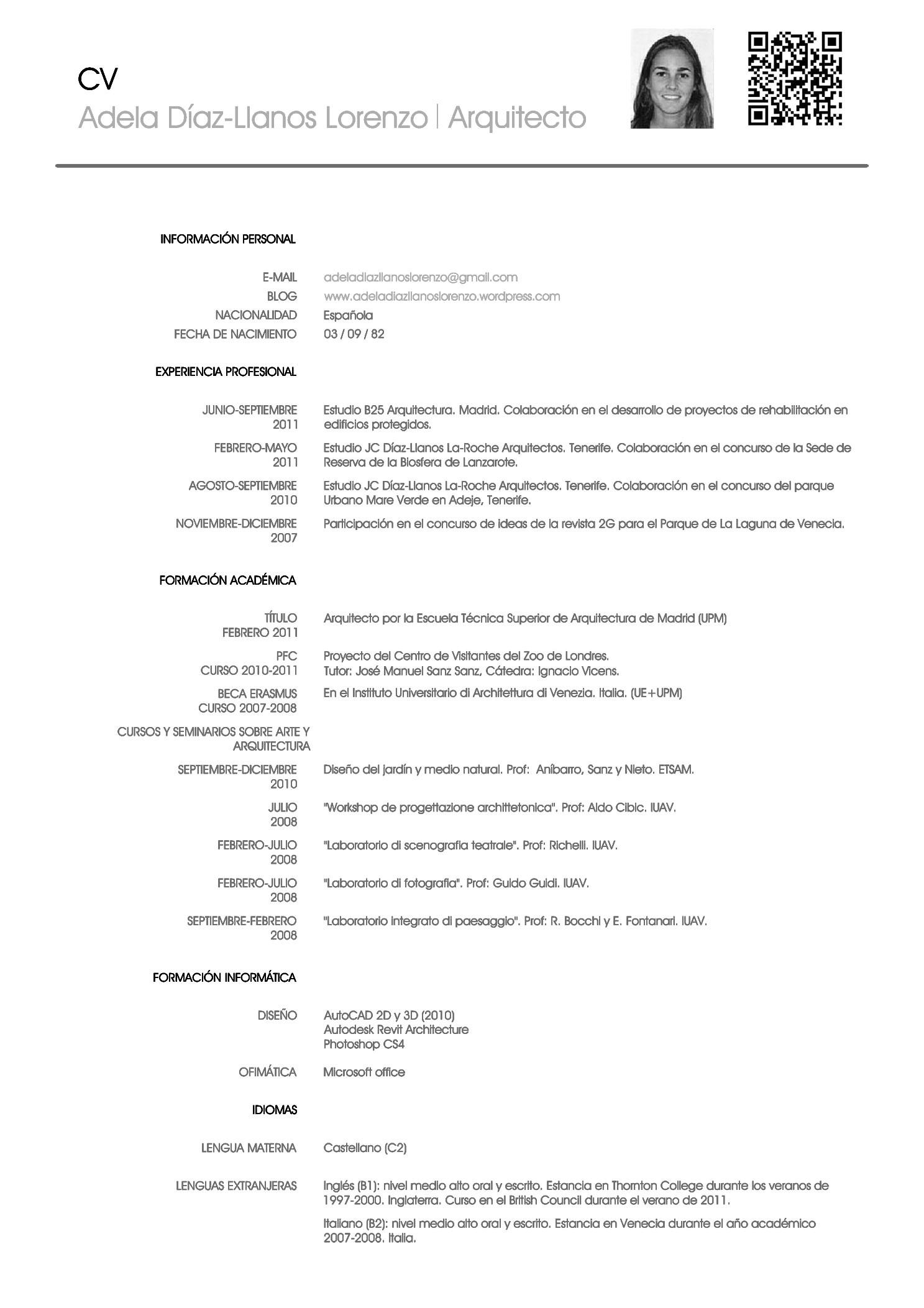 curriculum vitae template en espanol
