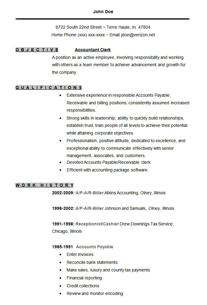 accounting resume templates