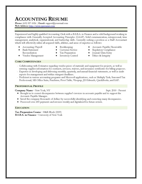 Resume Templates for Accountants 301 Moved Permanently