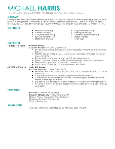Resume Templates for Accounting and Finance Accounting Finance Resume Examples Accounting