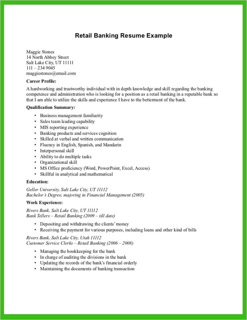 bank job resume sample