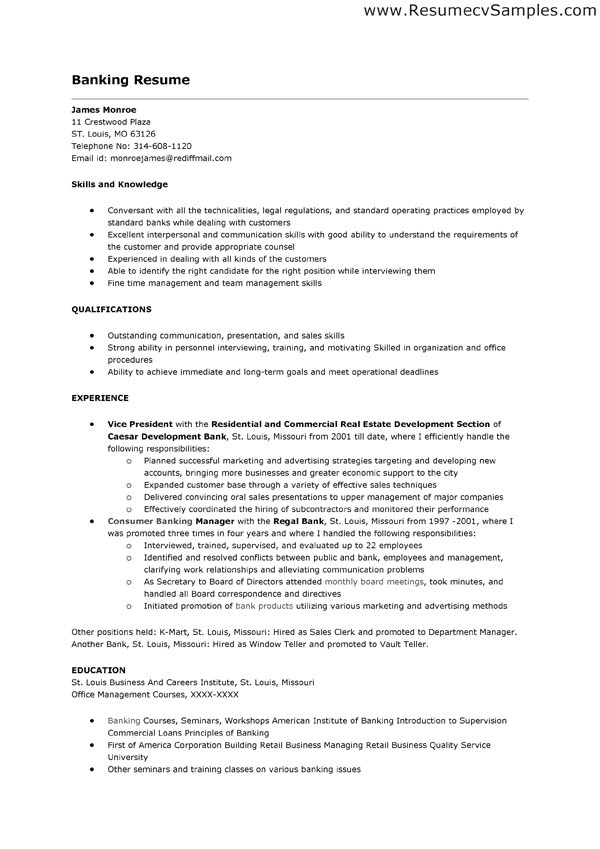 bank teller job description for resume