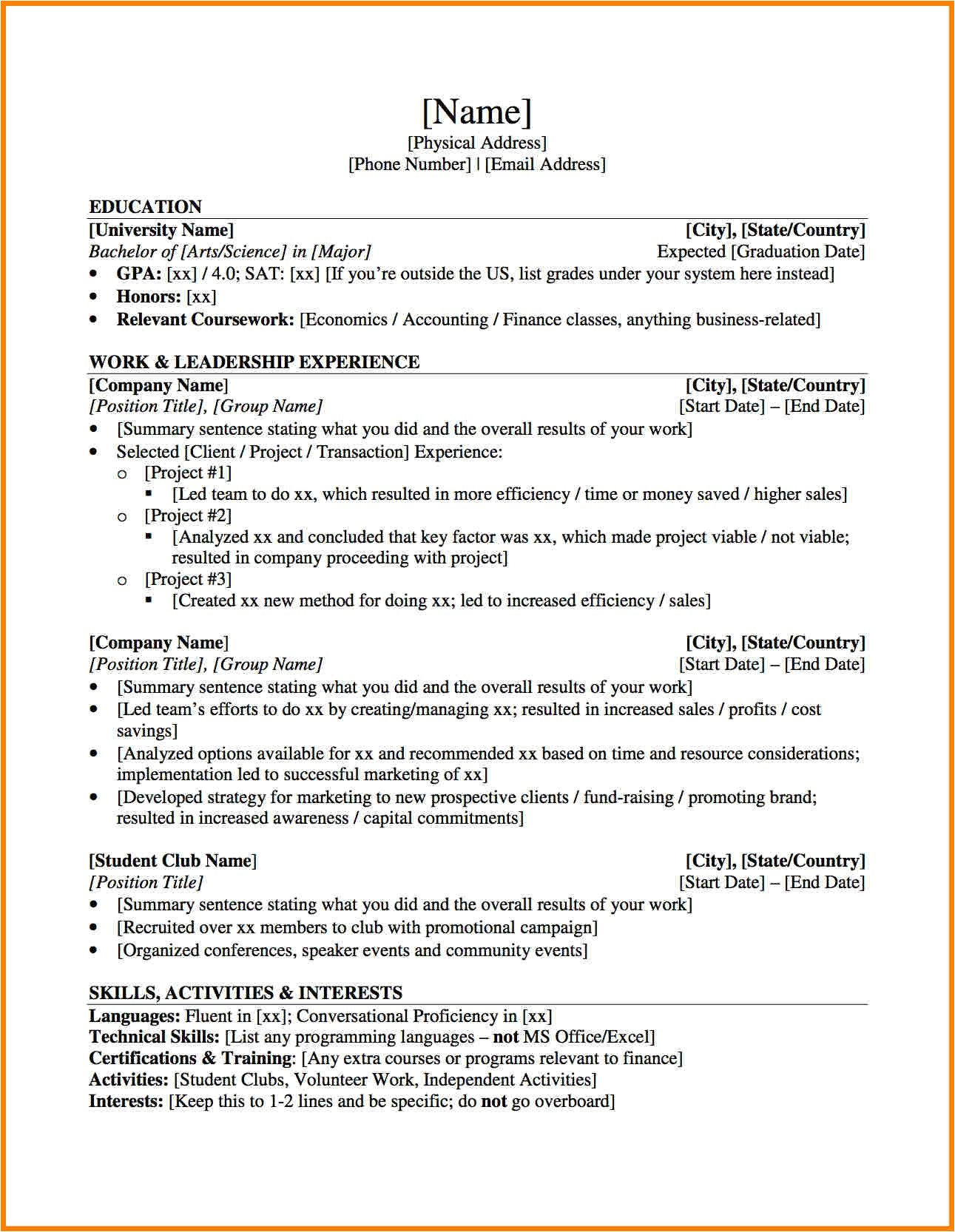 Resume Templates for Banking Jobs Investment Banking Resume Template Health Symptoms and