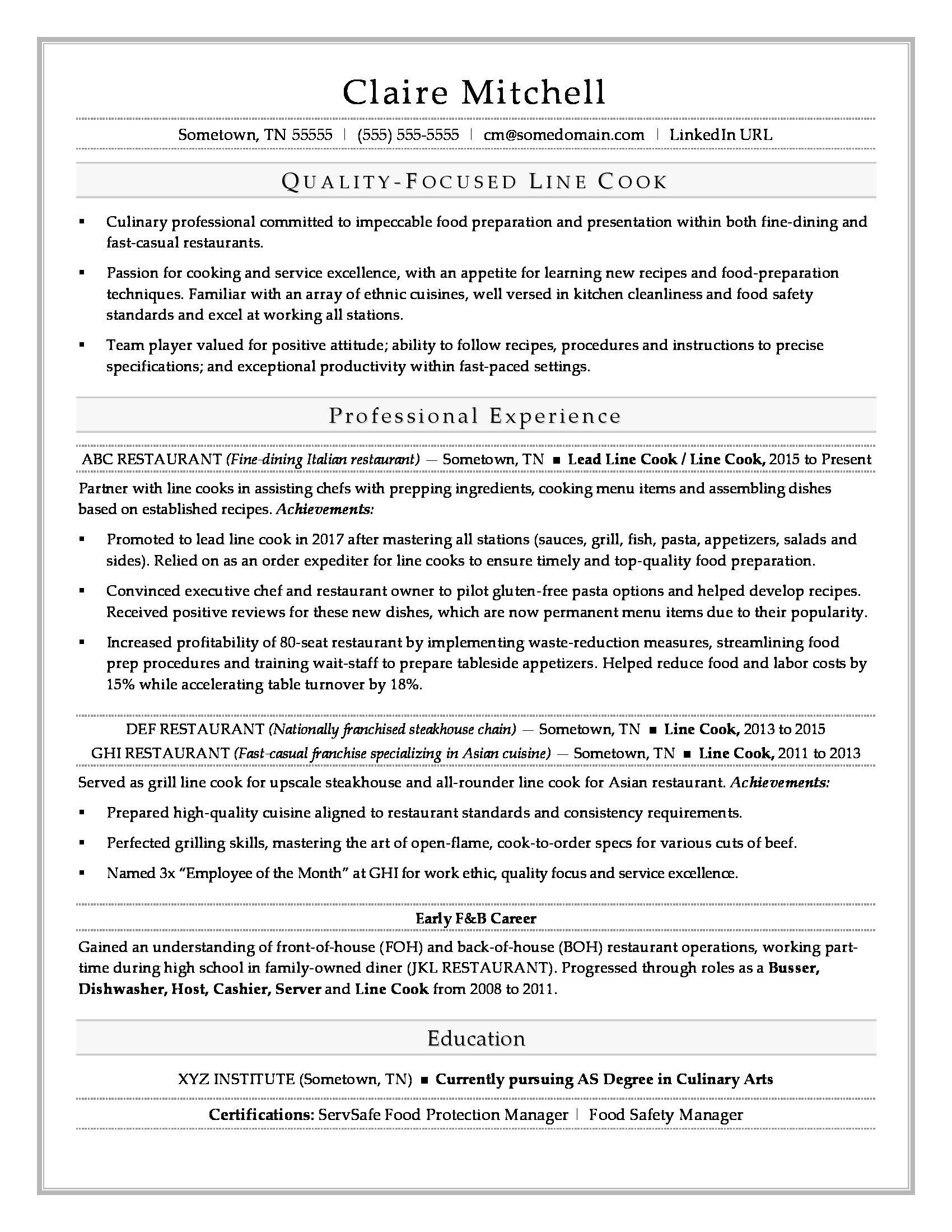 Resume Templates for Cooks Line Cook Resume Sample Monster Com