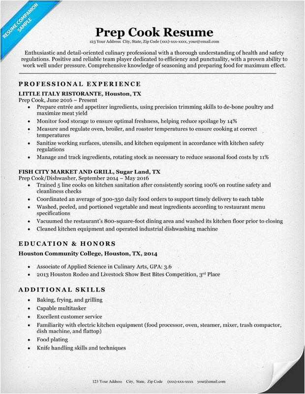 Resume Templates for Cooks Prep Cook Resume Sample Writing Tips Resume Companion