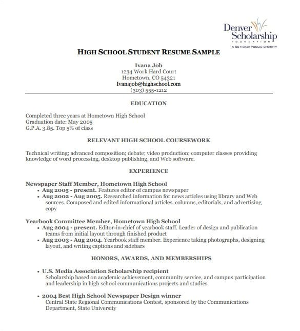 Resume Templates for High School High School Work Resume Best Resume Collection