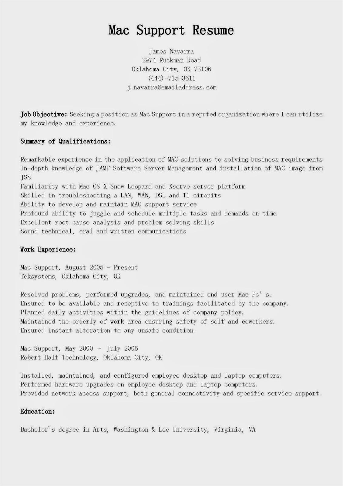 mac support resume sample