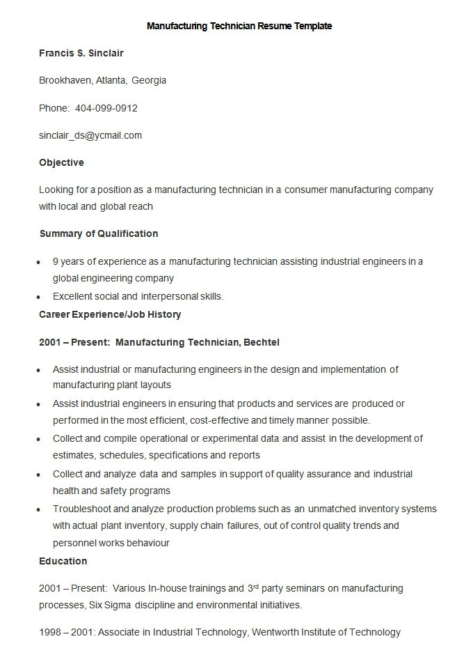 manufacturing resume template