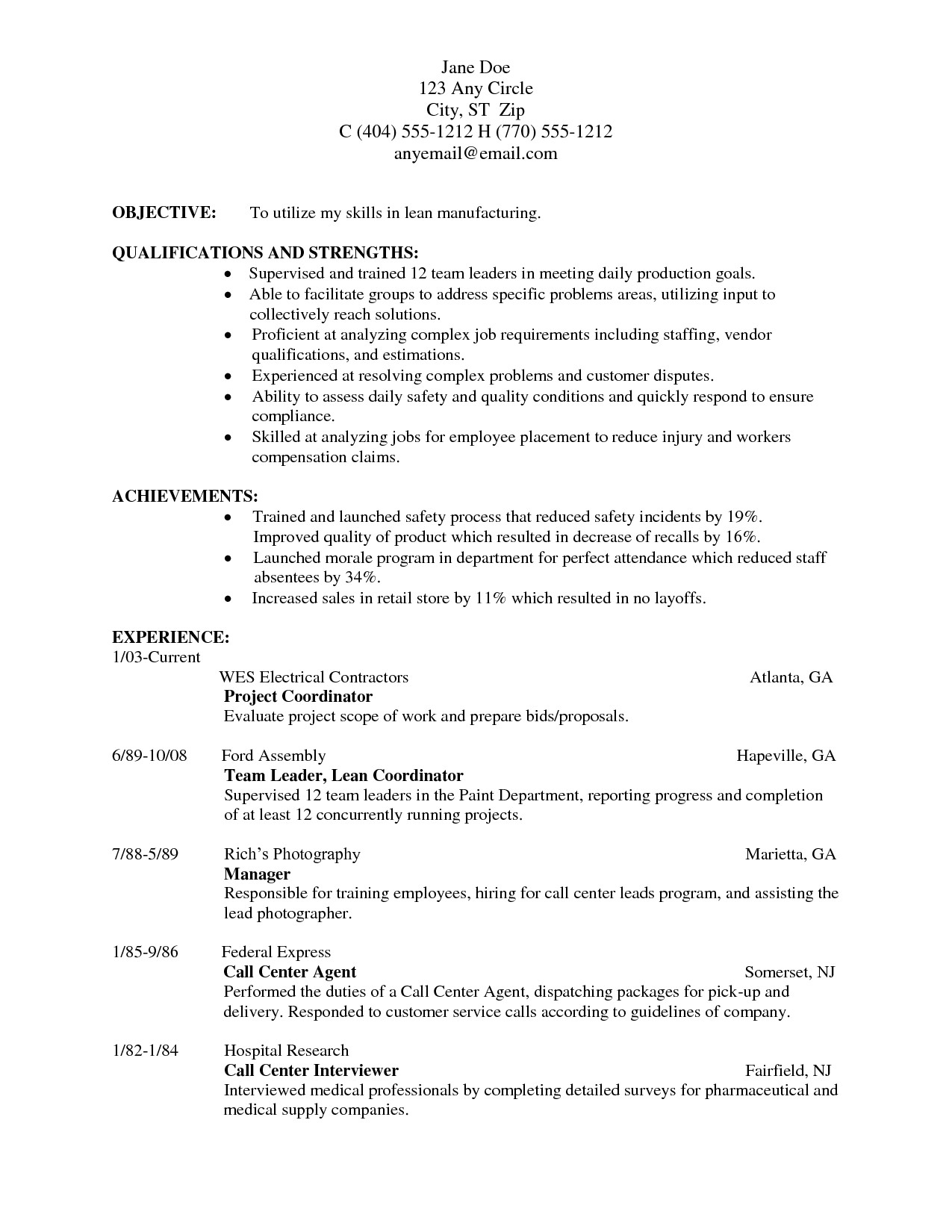 Resume Templates for Manufacturing Jobs Resume for Manufacturing Portablegasgrillweber Com