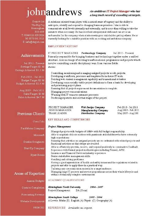 Resume Templates for Project Managers Project Manager Cv Template Construction Project