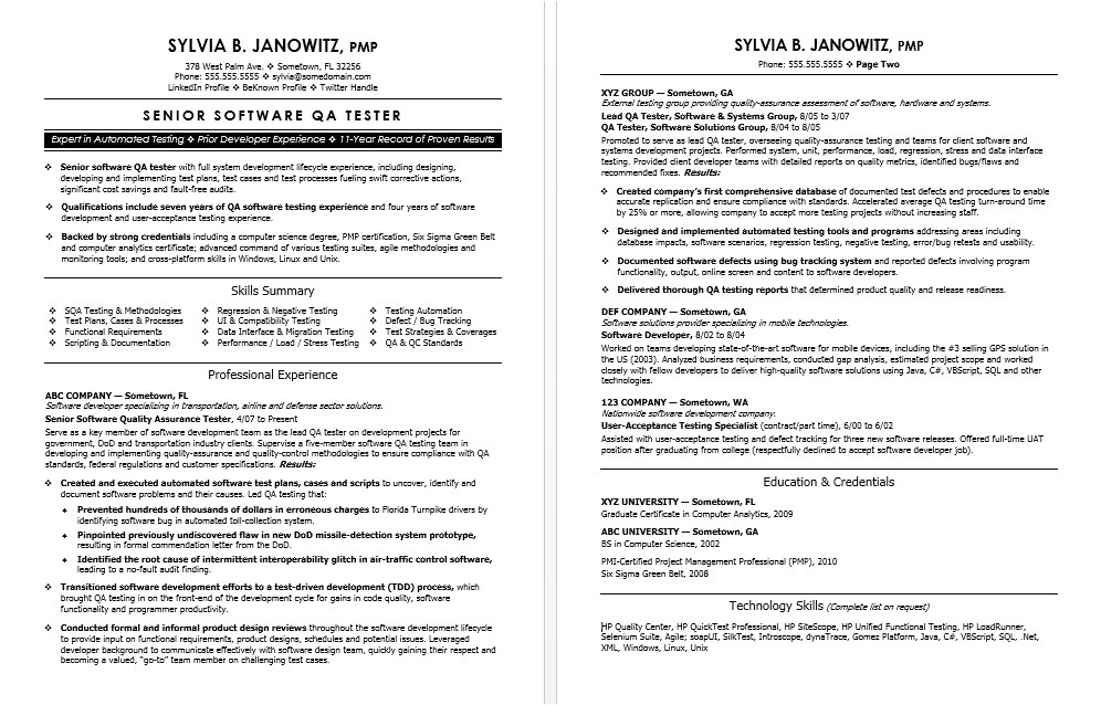 Resume Templates for Qa Tester Experienced Qa software Tester Resume Sample Monster Com